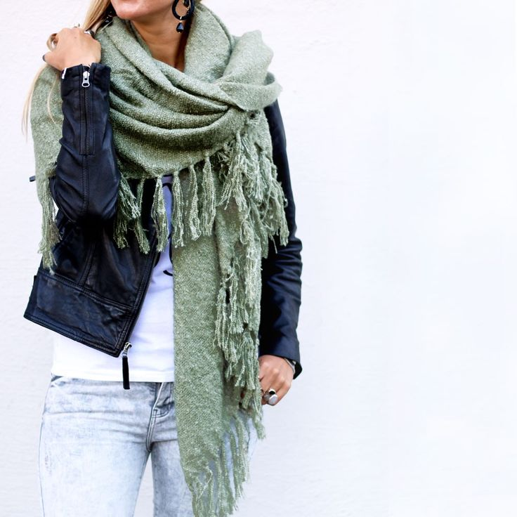 After summer scarf green via www.my-jewellery.com | #leather #jacket #fringes…