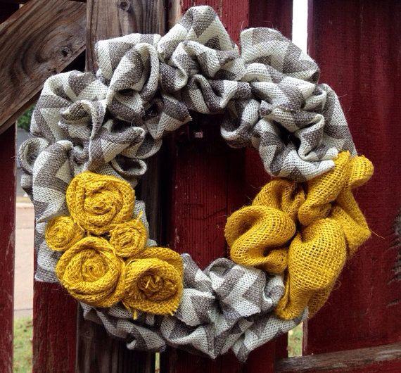 Yellow & Chevron Burlap Wreath.