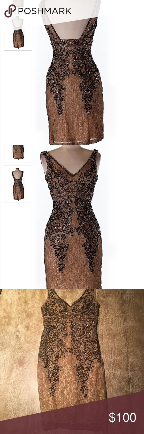 """Sue Wong Brown Embroidered Beaded Dress, size 0 Sue Wong brown/bronze colored dress with beautiful embellishments. Intricate beading and sequins. Size 0. Molded cups. Concealed side zip. Perfect for a gatsby themed party. Bust is approx 24"""". Dress does have some stretch. Lined. Approx 34-35"""" in length lying flat. Excellent condition. I have inspected the dress and see no noticeable flaws. Sue Wong Dresses"""
