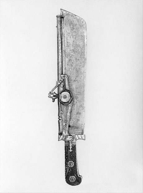 Hunting knife combined with wheellock pistol. Date: blade ca. 1528–29, etched with a calendar for the years 1529–34; barrel dated 1540 or 1546. Culture: German, Munich. Medium: Steel, gold, staghorn, gilt bronze. Dimensions: L. 18 1/4 in. (46.36 cm); L. of barrel, 12 3/8 in. (31.42 cm); L. of blade, 13 1/4 in. (33.66 cm); Cal..28 in. (7.1 mm);