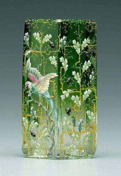 Moser enameled art glass vase