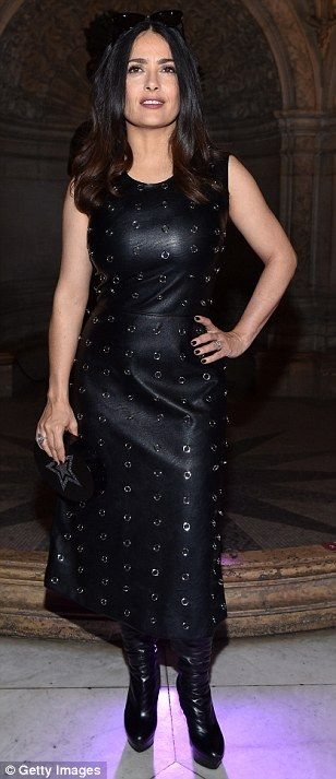 Go hell for faux leather like Salma in a dress by Stella McCartney   Click 'visit' to buy it now  #DailyMail