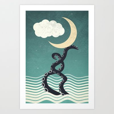animal, kids, illustration, tentacle, moon, vintage