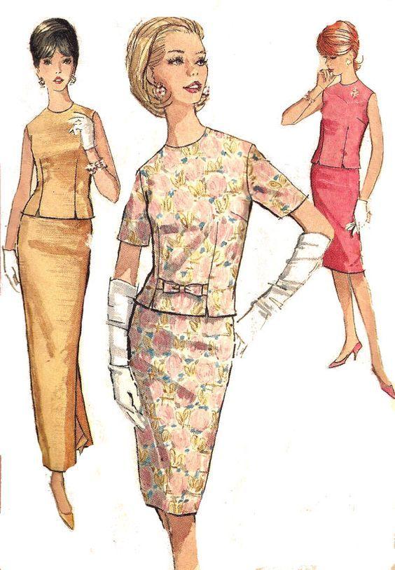 1960s 2 Piece Dress Pattern Simplicity Wiggle Dress by SelmaLee: