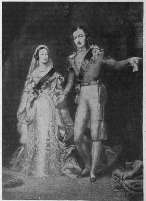 Queen Victoria and Prince Albert pose in their bridal and monarchial regalia