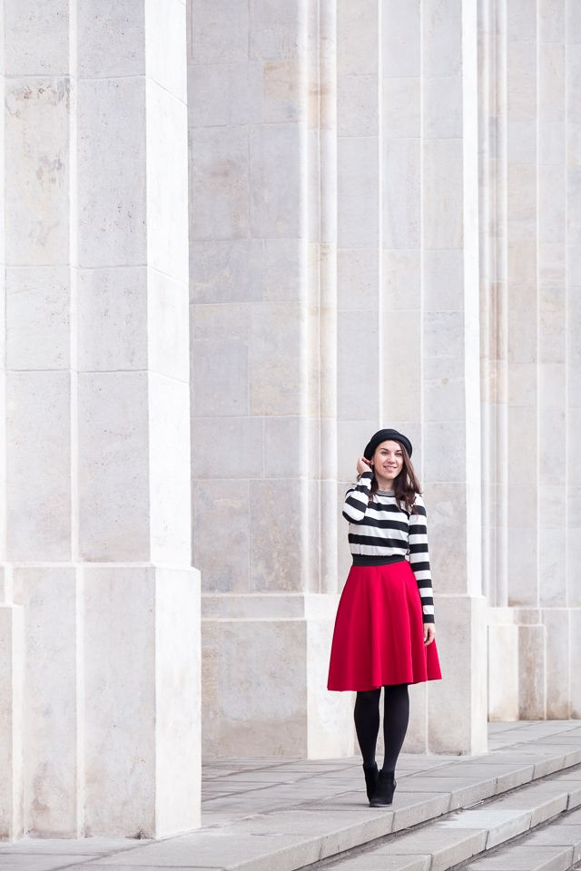 pasisian chic red skirt stripes hat personal style dresssidestory