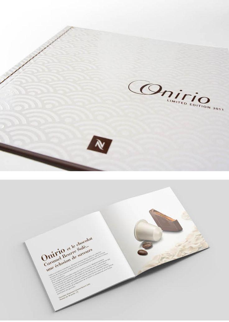 Création graphique du dossier de presse Onirio pour Nespresso. Capsule en édition limitée parue en 2011.