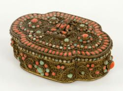 7090 - 19th C. Nepalese Gilt Brass Box Autumn Estate Auction   Official Kaminski Auctions