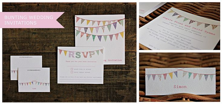 Bunting Wedding Invitations by The Pattern Boutique, London