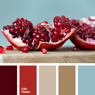 Bright red of pomegranate seeds is suitable for impulsive and short-tempered personalities. Use this rich color every day, diluting it with calm blue and s.