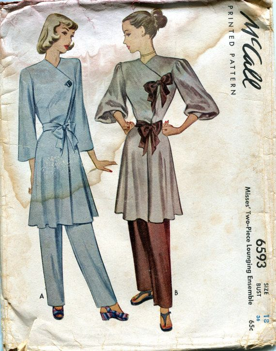 Vintage 1940s Wrap Dress or Robe Tunic Top Pajamas Hostess suit ensemble outfit blue tan brown late era with a Sash and Pants Pattern, McCall 6593, Size 18, Bust 36, Uncut on Etsy, $35.00