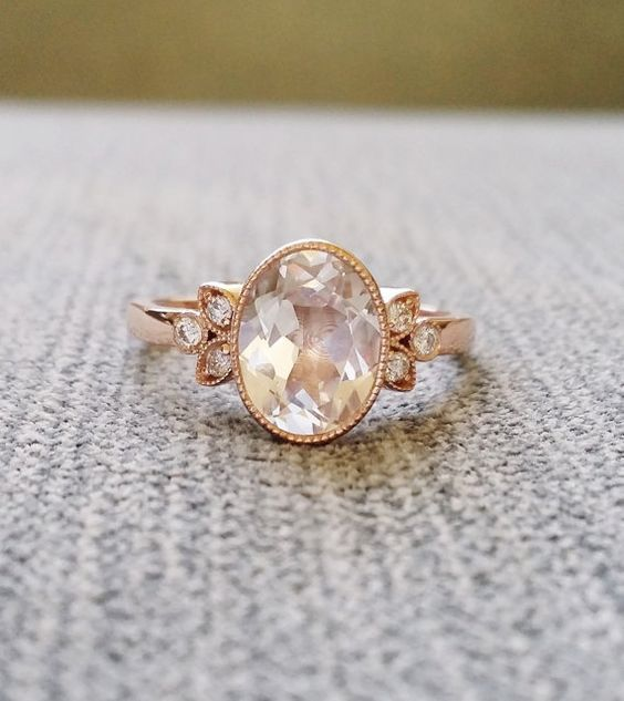 "Antique Diamond White Sapphire Engagement Ring Rose Gold Victorian Bezel Set Low Profile Filigree Gemstone PenelliBelle ""The Luella"""