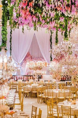Forego a theme and give your venue the full floral treatment. | These Bar And Bat Mitzvahs Will Make You Wish You Were 13 Again