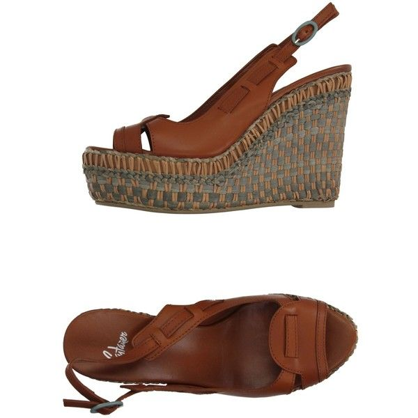 Castañer Sandals ($64) ❤ liked on Polyvore featuring shoes, sandals, tan, wedges shoes, leather shoes, tan wedge shoes, leather wedge sandals and tan leather shoes