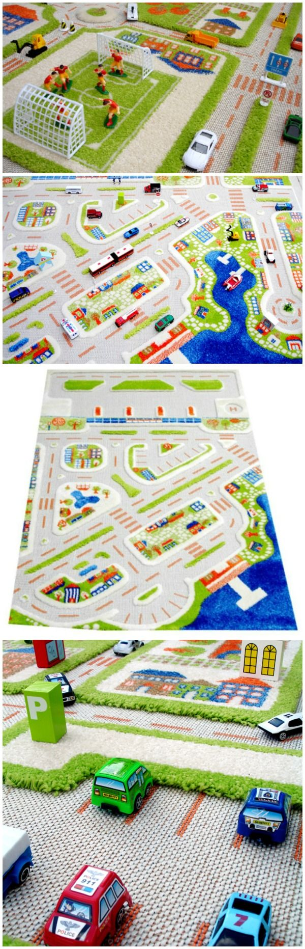 The 3D Play Carpet includes an airport with parking lots, runways, ocean and port and a bus stop. With a fun rug like this, who needs battery operated toys?