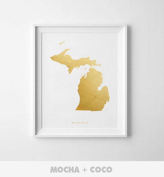 Michigan Gold Map Print US State PosterState Map by MochaAndCoco
