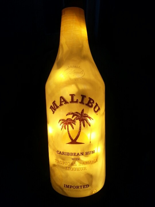 Malibu liquor bottle lamp