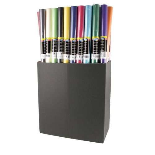 Kraft wrapping paper in display of assorted colors