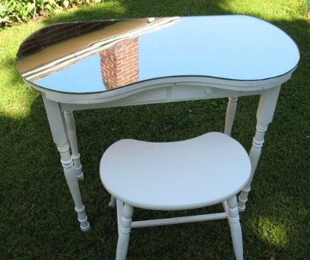 Reserved for Rich Vintage Kidney Shaped Vanity Table w/ Mirror Top &  Matching Stool and Fabric Coverings Convo for Ship Costs | Vanities |  Pinterest ... - Reserved For Rich Vintage Kidney Shaped Vanity Table W/ Mirror Top