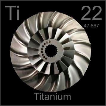 """#22 Titanium. """"This titanium blisk (bladed impeller disk) is from the intake stage of a jet engine, where the light weight and high strength of titanium are key. Titanium is expensive because it must be cast under inert atmosphere."""""""