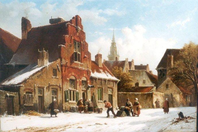 Adrianus Eversen - Winters tafereel in een stad