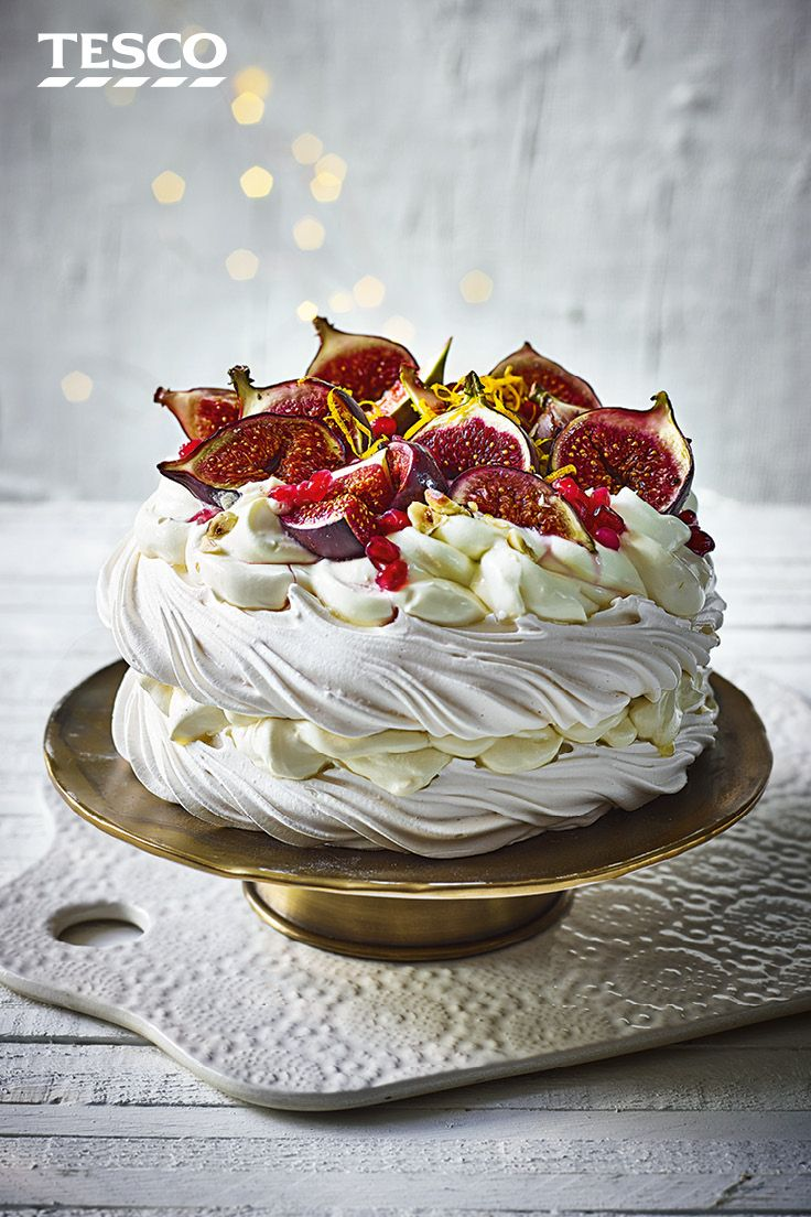 Need a stunning Christmas dessert in a hurry? This gorgeous fig and cardamom pavlova recipe can be whipped up in just 30 minutes as it uses ready-made meringues and gorgeous fresh fruits for a delicious festive pud. | Tesco