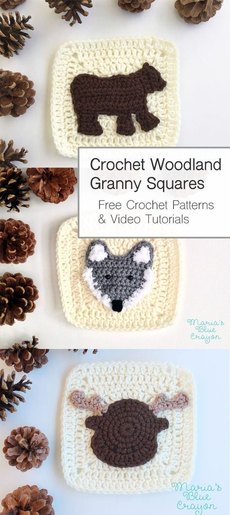 Woodland Granny Square Afghan Free Crochet Pattern Crochet Animals