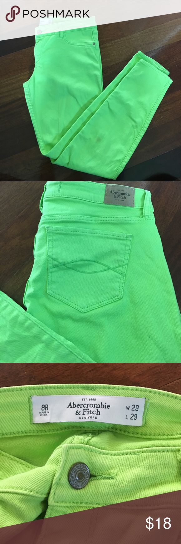 HOST PICK A&F Neon Green Skinny Jeans Vibrant neon green skinny jeans from A&F. In EUC. color is most like the last picture. Abercrombie & Fitch Jeans Skinny