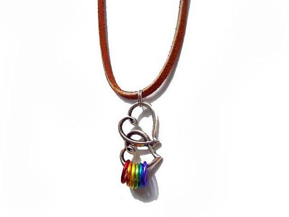 Gay Pride necklace Double heart with rainbow rings LGBT jewelry lesbian flag queer freedom