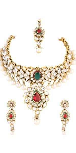 Bridal Pearl Kundan Necklace Set.