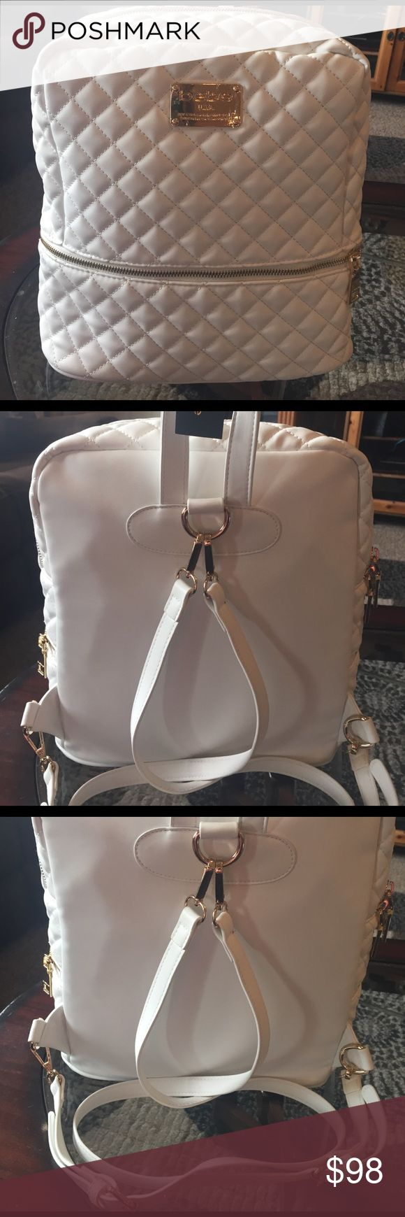 """🌺NEW! BEBE QUILTED LEATHER """"DANIELLE"""" BACKPACK BRAND NEW! AUTHENTIC BEBE CRISPY WHITE QUILTED LEATHER """"DANIELLE"""" BACKPACK WITH GOLD HARDWARE, & SO SOFT.....Approximate Measurements-13"""" X 12"""" X 5""""-NEVER USED! EXCELLENT NEW CONDITION!! bebe Bags Backpacks"""