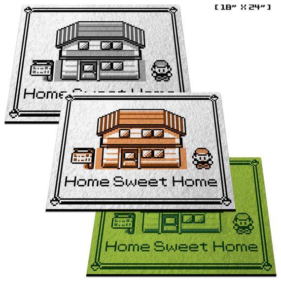 Pokemon Home Sweet Home  18 x 24 Doormat Welcome by RetroArtDecor