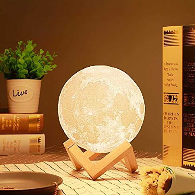 3d Printed Moon Lamp Led Baby Night Light Table Desk Lamp Usb Charging Wooden Base Touch Sensor Cont Moon Light Lamp Night Light Lamp Baby Night Light