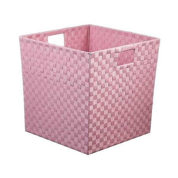 Woven Storage Bin  Pink - Pillowfort ($9.99) ❤ liked on Polyvore featuring home, home decor, small item storage, pink, woven bin, storage bins, pink home decor, pink storage bins and woven storage bins
