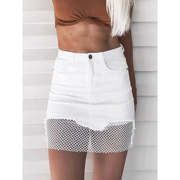 Choies White High Waist Fishnet Paneled Denim Mini Skirt ($23) ❤ liked on Polyvore featuring skirts, mini skirts, white, high waisted denim skirt, short white skirt, short mini skirts, high waisted mini skirt and high-waisted skirt