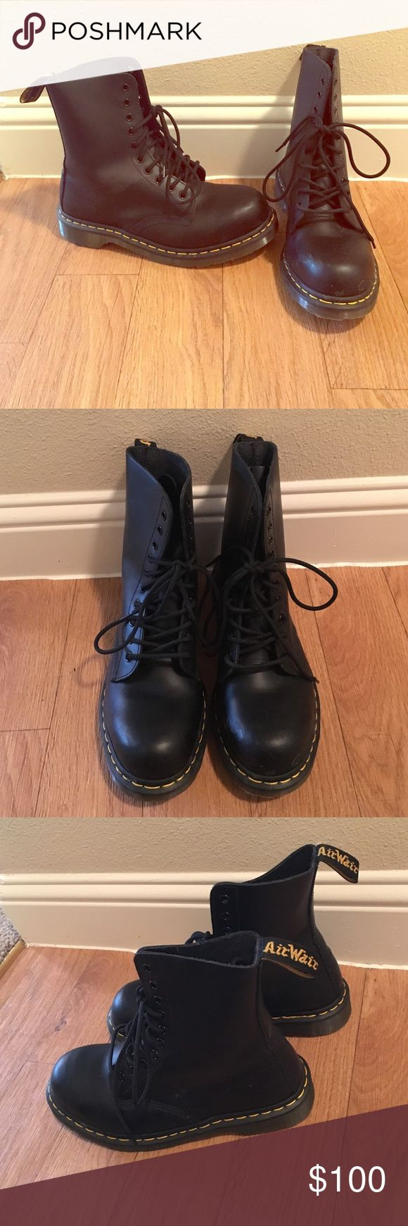 Dr. Martens Classic 1919 Steel Toe Boot Black leather boots. Worn once. The Dr. Martens 1919 10 Eye Steel Cap Boot Unisex embodies all that is true and unique to Dr. Martens. Dr. Martens Shoes Lace Up Boots