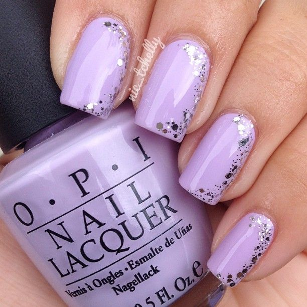 Light purple nails with silver glitter sparkles on the side. Try this w/  any color. - Best 25+ Lilac Nails Design Ideas On Pinterest Lilac Nails, Navy