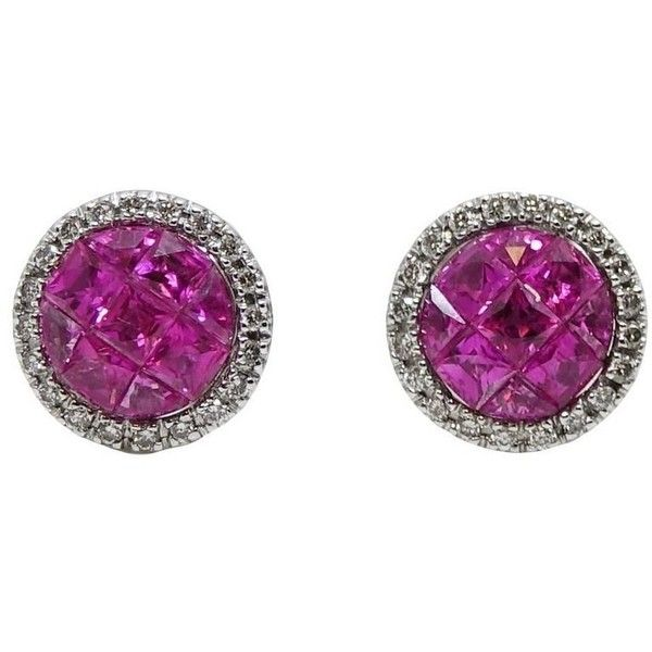Preowned French Cut Pink Sapphire And Diamond White Gold Earrings featuring polyvore, women's fashion, jewelry, earrings, stud earrings, white, white gold diamond earrings, diamond stud earrings, pink sapphire earrings, round stud earrings and round earrings