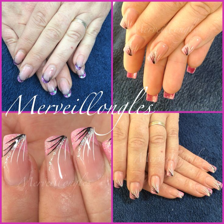 Pose gel uv pink pailleté sur amboise Ongles en gel faux ongles