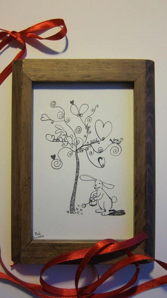 Valentine gift Original illustration  'Love tree'  by Fahfield, kr200.00