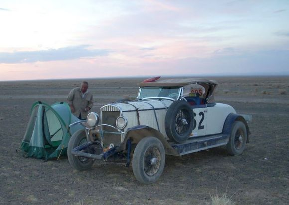 Peking to Paris Veteran 1929 Chrysler Model 75 ... finished second overall in the 15,000 mile, 55 day Inca Trail Rally in 2001. THEN competed in the 2003 Shield of Africa Rally and again at the legendary Peking to Paris event four years later, in the process crossing the Gobi desert, Mongolia and Russia over 7,000 miles and 35 days. Freakin' awesome.
