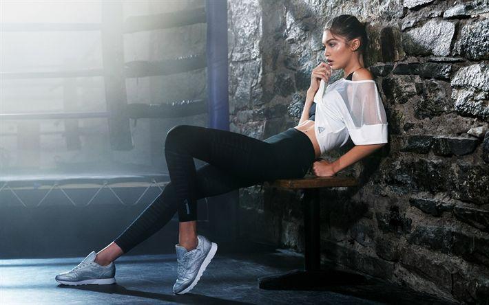 Hämta bilder Gigi Hadid, porträtt, Amerikansk supermodell, sportkläder, fitness, Victorias Secret, Jelena Noura Hadid