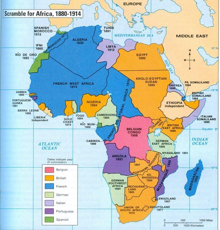 Mapa del colonialismo en África.