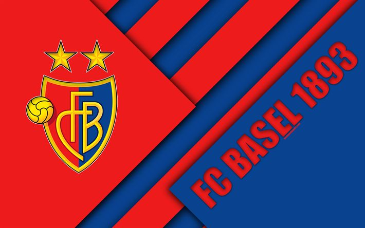 Download wallpapers FC Basel, 1893, 4k, Swiss Football Club, red blue abstraction, material design, logo, Swiss Super League, Basel, Switzerland, football