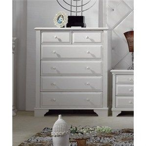 Amou French Style 6 Drawer Tallboy in Ivory White  livingstyles.au.com