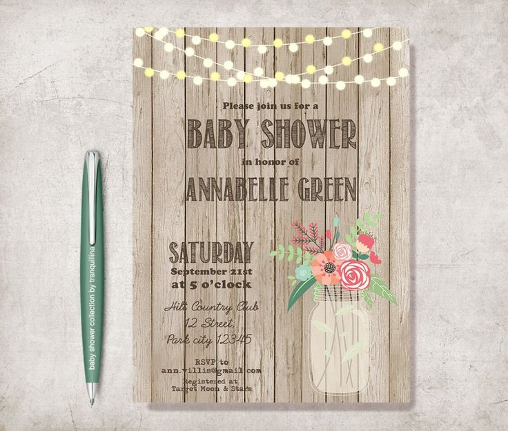Even at  #Christmas we're receiving invitation cards from #Tranquillina as this Rustic Baby Shower with Mason  invitation. From £9.00