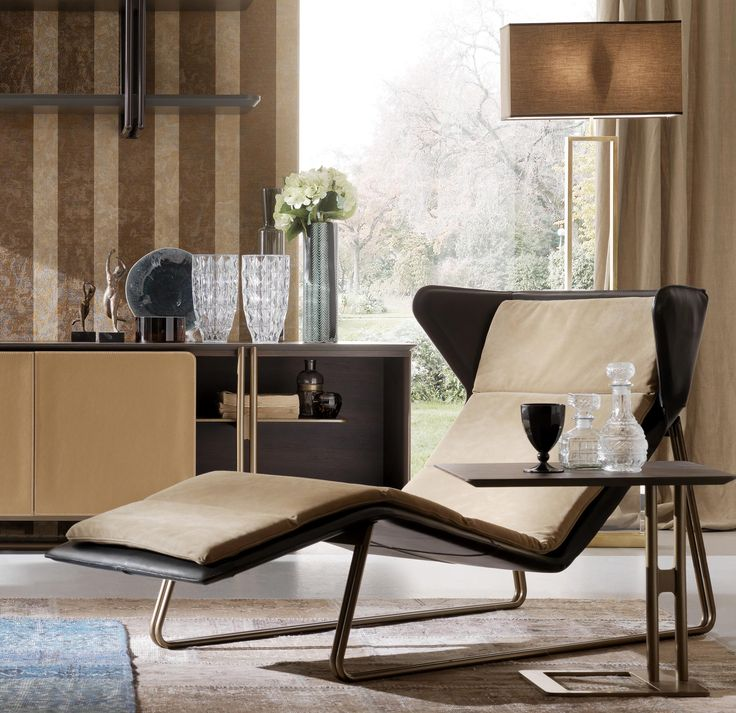 Upholstered Leather Lounge Chair ROMEA By Esedra Design Studio Memo