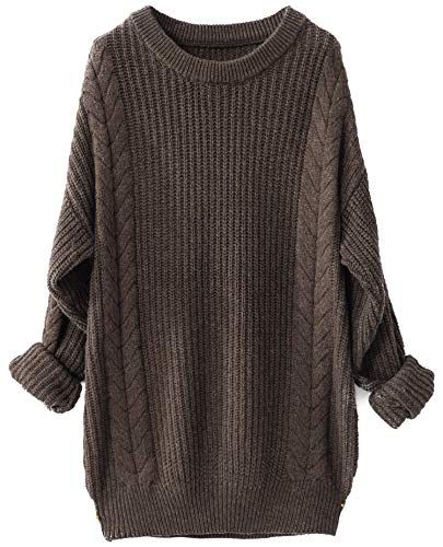 New Liny Xin Women s Cashmere Oversized Loose Knitted Crew Neck Long Sleeve  Winter Warm Wool Pullover Long Sweater Dresses Tops online. be94b1463