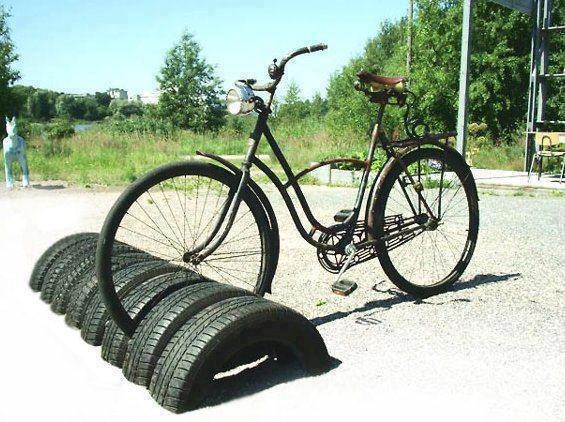Old tyres made into a bike stand