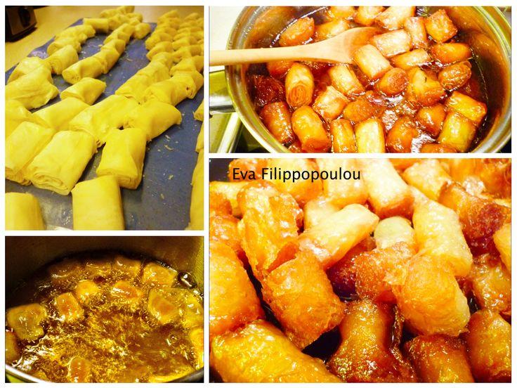 #food #recipes #desserts #greek #kourkoumpinia Greek syrup phyllo rolls by Eva Filippopoulou